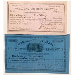 Two Different Dakota Territory Mining Stock Certificates  (100777)