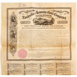 1858 Nashville & Rowena Coal Company Bond  (81956)