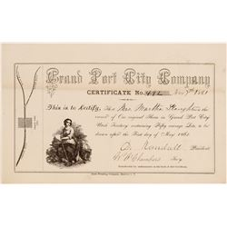Grand Port City Mining Company - One of the (or the) Earliest Known Utah Certificate  (104690)