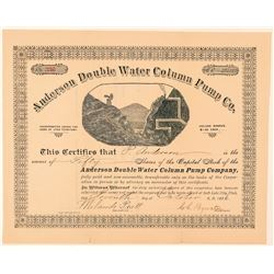Anderson Double Water Column Pump Co. Stock Certificate  (100833)