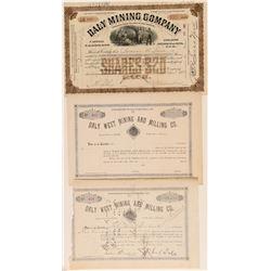 """Daly"" Mining Company Stock Certificates  (100800)"