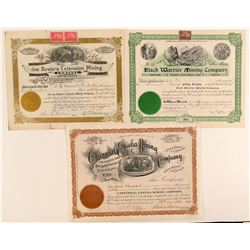 Three Different Tintic Utah Mining Stock Certificates  (100798)