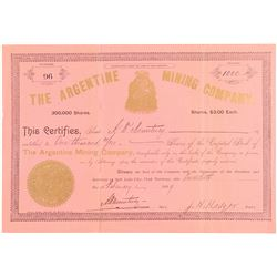 Argentine Mining Company Stock Certificate  (100802)