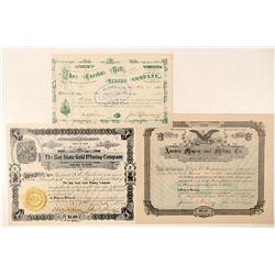 Three Different Utah Mining Stock Certificates  (100788)