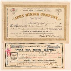 Two Utah Mining Stock Certificates: Park City and Snake Creek  (100791)