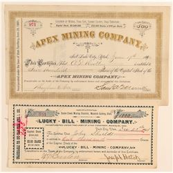 Two Utah Mining Stock Certificates: Park City and Snake Creek  (100791)