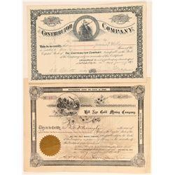 Two Utah Stock Certificates: Bill Nye & Contributor  (100790)