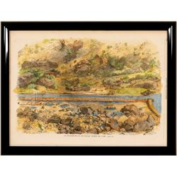 Lithograph of Early Gold Rush in British Columbia  (102244)