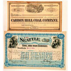 Two Washington Coal Mining Stock Certificates  (100994)