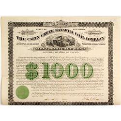 Cabin Creek Kanawha Coal Company Bond  (81949)