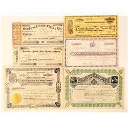 Mining stock certificates - 3 CA / 2 AZ  (100416)