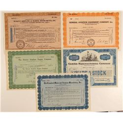 Airplane Products & Equipment Stock Certificates  (102559)