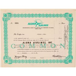 Aloha Airlines Stock Certificate  (101531)