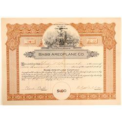 Babb Aeroplane Co. Stock Certificate  (103413)