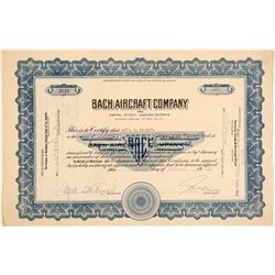 Bach Aircraft Company Stock Certificate  (103415)