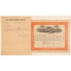 Baldwin Airship Company Stock Certificate & Letterhead  (103418)