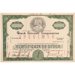 Beech Aircraft Corporation Specimen Stock Certificate  (103410)