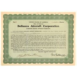 Bellanca Aircraft Corporation Stock Certificate -- Number 1  (103392)