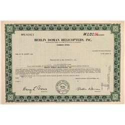 Berlin Doman Helicopters, Inc. Stock Certificate  (103395)
