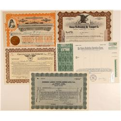 Five Different Air Freight Companies Stock Certificates  (102554)