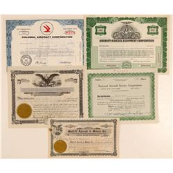 Five Different Aircraft Companies Stock Certificates  (102557)