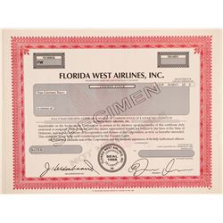 Florida West Airlines, Inc. Specimen Stock Certificate  (102639)