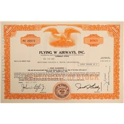 Flying W Airways, Inc. Stock Certificate  (102636)