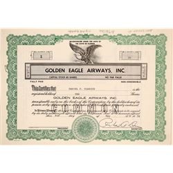 Golden Eagle Airways, Inc. Stock Certificate -- Number 1  (102614)