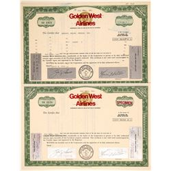 Golden West Airlines Stock Certificates incl. Specimen  (102615)
