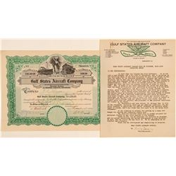 Gulf States Aircraft Company Stock Certificate & Letter  (102619)