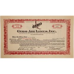 Gyro Air Lines, Inc. Stock Certificate  (102620)