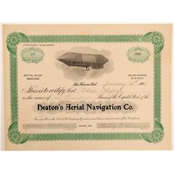 Heaton's Aerial Navigation Company Stock Certificate  (102621)