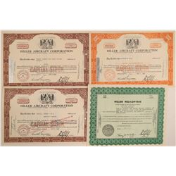 Hiller Aircraft Corp. (Helicopters) Stock Certificates  (102622)