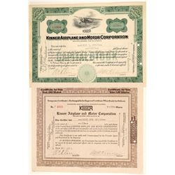 Kinner Airplane & Motor Corporation Stock Certificates  (102608)
