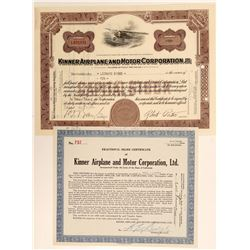 Kinner Airplane & Motor Corporation Stock Certificates  (102609)
