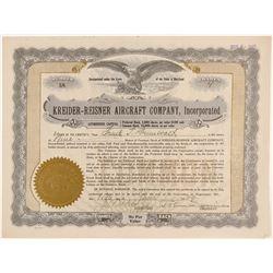 Kreider-Reisner Aircraft Company, Inc. Stock Certificate  (102582)