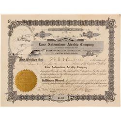 Lane Automatous Airship Company Stock Certificate  (102583)