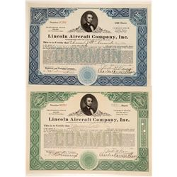 Lincoln Aircraft Company Stock Certificates  (102584)