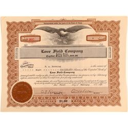 Love Field Company Stock Certificate  (102550)