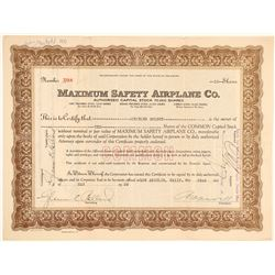 Maximum Safety Airplane Company Stock Certificate  (102593)