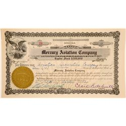 Mercury Aviation Company Stock Certificate Signed by Cecil B. DeMille  (102596)