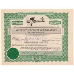 Midwest Aircraft Corporation Stock Certificate  (102574)