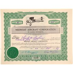 Midwest Aircraft Corporation Stock Certificate--Number 2  (102597)