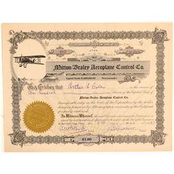 Milton-Braley Aeroplane Control Co. Stock Certificate  (102598)
