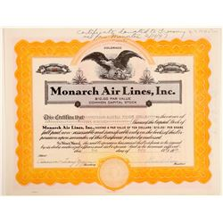 Monarch Air Lines, Inc. Stock Certificate   (102576)