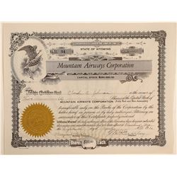 Mountain Airways Corporation Stock Certificate  (102580)
