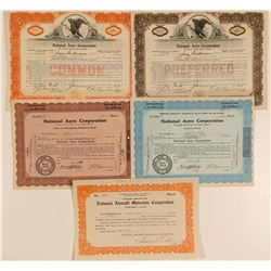 National Aero Corporation Stock Certificates  (103455)