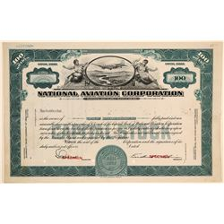 National Aviation Corporation Stock Certificate Specimen  (102579)