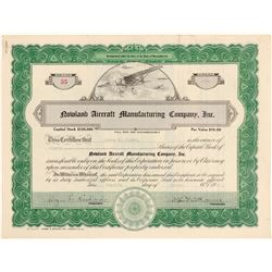 Nowland Aircraft Manufacturing Co., Inc., Stock Certificate  (102567)