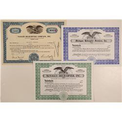 Three Different Helicopter Stock Certificates  (102577)